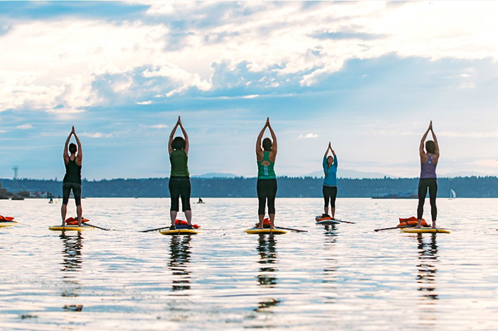 sup paddleboard yoga urdhva hastasana tadasana mountain pose