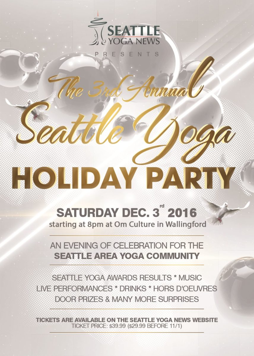 Seattle Yoga Holiday Party 2016 Flyer