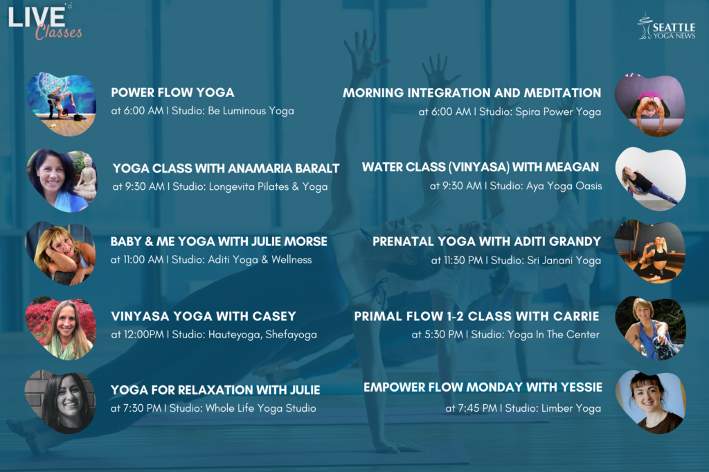 Seattle Area Live Yoga Classes - Tuesday Apr 14th schedule